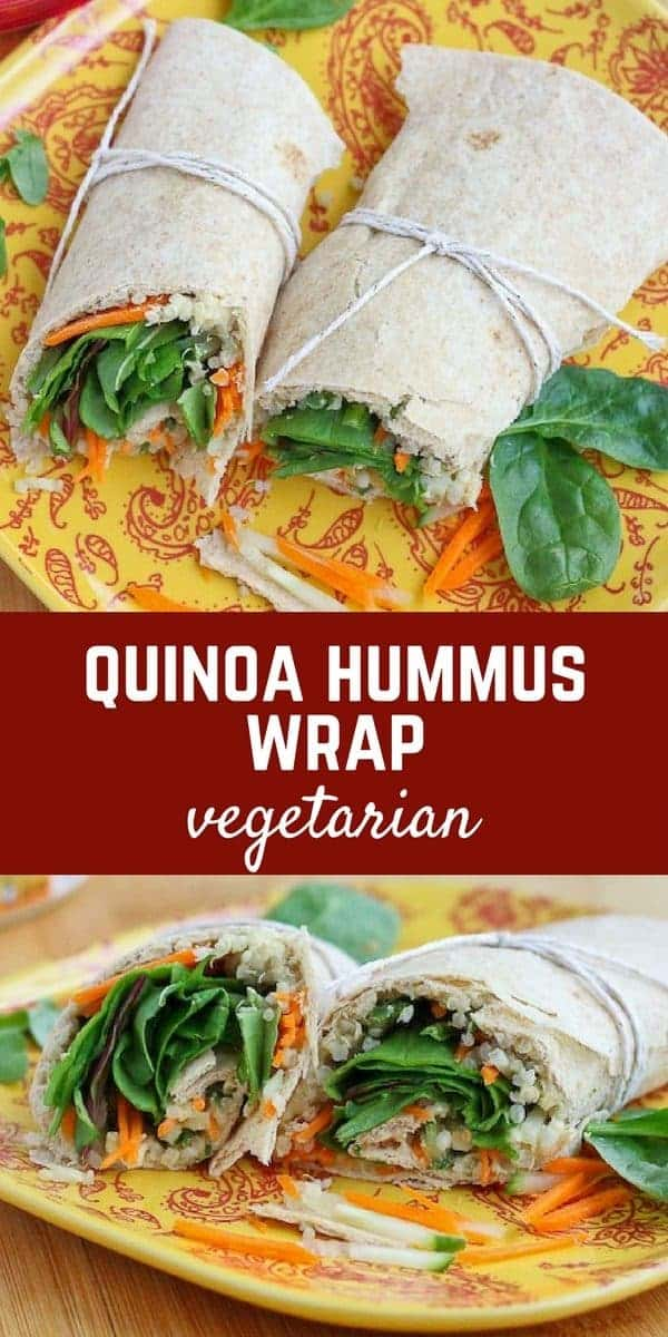 Quinoa Hummus Wrap on RachelCooks.com - easy vegetarian lunch full of protein!