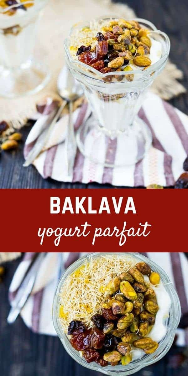 This Baklava Yogurt Parfait Recipe is almost like eating dessert for breakfast. Filling, sweet, creamy, crunchy, and oh-so-satisfying! Get the breakfast recipe on RachelCooks.com!