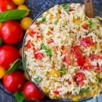 Bruschetta Orzo Pasta Salad
