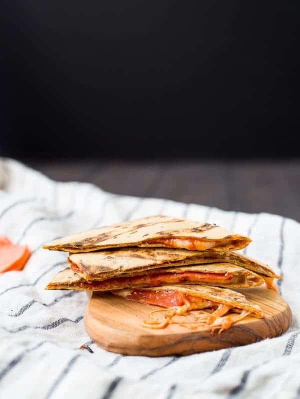 I love to throw a pizza quesadilla on the grill for the kids when I'm grilling other things, but this pizza quesadilla makes a great quick lunch too! Get the easy recipe on RachelCooks.com!