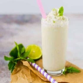 A mash-up of a vanilla milkshake and a mojito, this mojito milkshake is absolute summer perfection! You'll love the flavors of a mojito in a decadent summer treat. Get the recipe on RachelCooks.com!