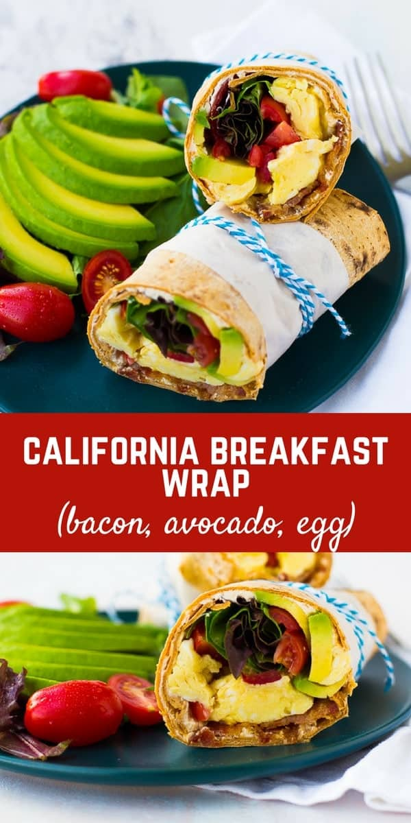 This California Breakfast Wrap is great for breakfast or lunch! The salty bacon, creamy avocado, fresh tomatoes and filling eggs make it a perfect meal! Get the easy recipe on RachelCooks.com!