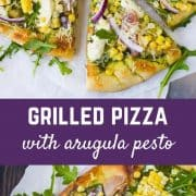 This pizza with arugula pesto is basically summer on a perfectly grilled pizza. It's sweet, salty, tangy, chewy, crunchy, subtly spicy (thanks, arugula!), and topped with creamy cheese. It's everything you need in your life. Get the easy recipe on RachelCooks.com!