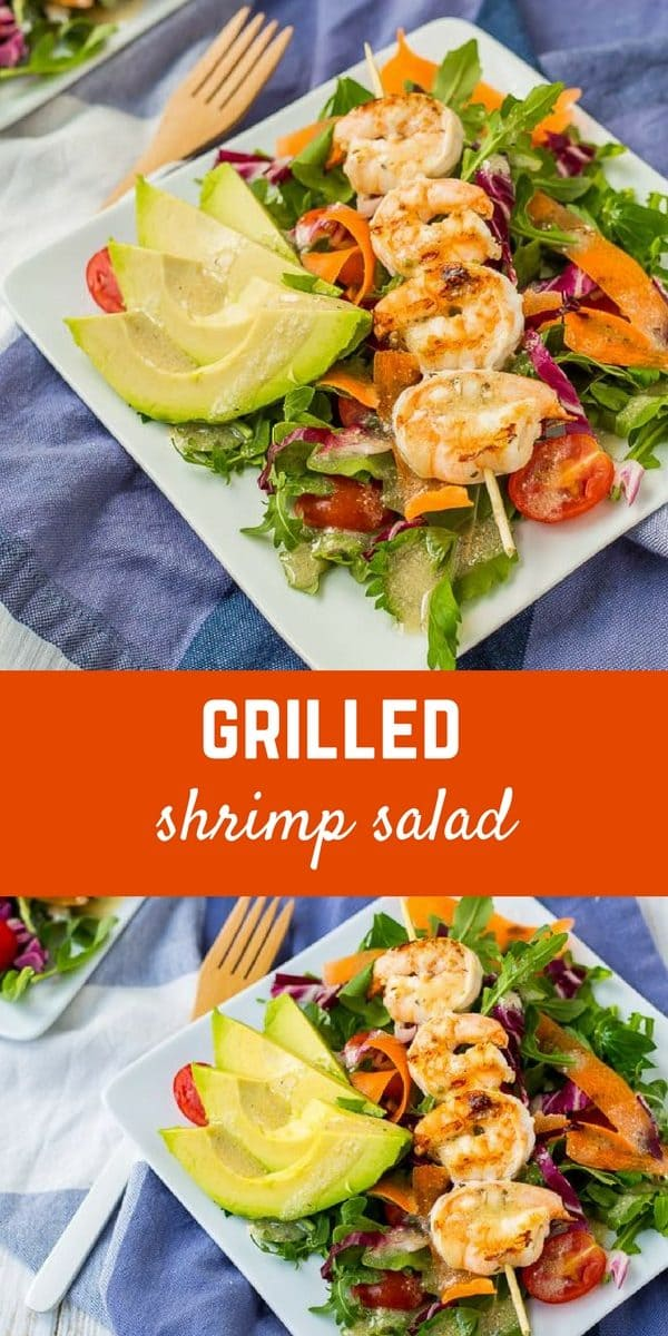 This Grilled Shrimp Salad with Garlic Parmesan Italian Vinaigrette is summer perfection. With all the colors, it's literally a taste of the rainbow. You'll be full and satisfied without feeling like you need a nap when you're done eating this! Get the easy salad recipe on RachelCooks.com!