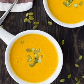 Warm yourself from the inside out with this easy pumpkin curry soup. You'll love how quick and easy it is to make - you'll be making it time and time again! Get the recipe on RachelCooks.com!