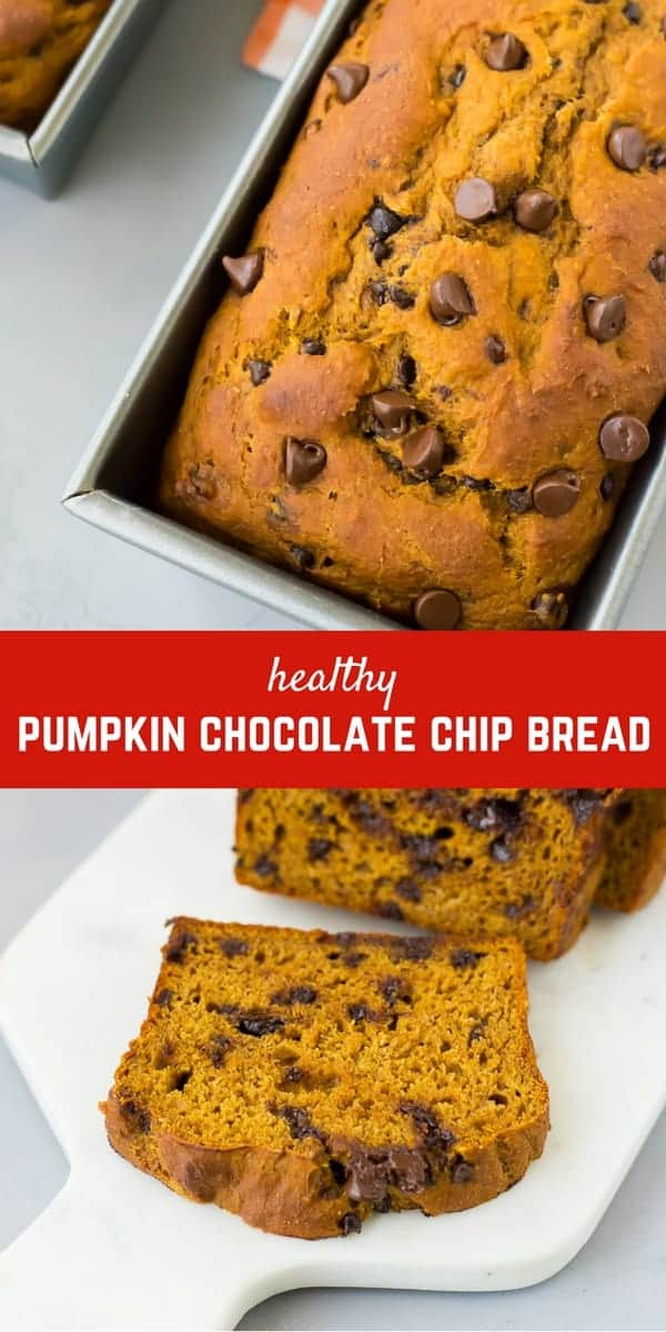 Made in one bowl, this healthy pumpkin chocolate chip bread is moist and decadent but full of whole grains and natural sweetness. Get the healthy pumpkin bread recipe on rachelcooks.com!