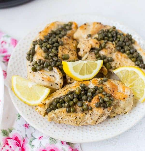 This healthy chicken piccata isn't breaded or fried, but it still has all the flavor of the original. And it's Whole30 compliant! As a bonus, it's ready in less than 30 minutes using your pressure cooker or Instant Pot!  Get the easy recipe on RachelCooks.com!