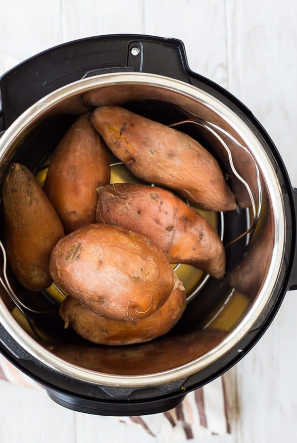 Instant Pot Sweet Potatoes might be your new favorite way to make sweet potatoes. They're ready in about 30 minutes (including pressure release!) and they come out silky smooth every time. Get the method on RachelCooks.com!