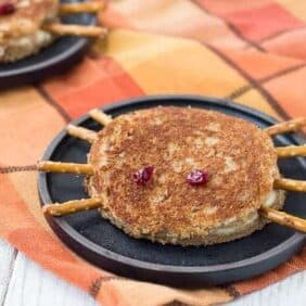 Cute, festive, and just a little creepy, this spider halloween grilled cheese sandwich will have your kids giggling and grinning. Get the fun recipe on RachelCooks.com!