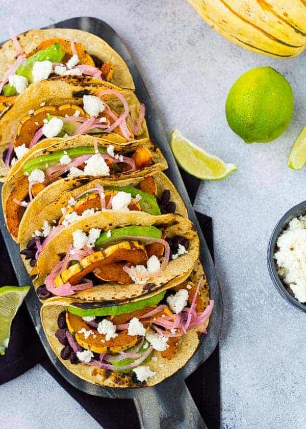 Vegetarian Tacos with Delicata Squash and Black Beans