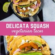 You'll never miss the meat in these flavorful fall vegetarian tacos made with delicata squash and black beans. Topped with pickled red onions, avocado, and queso fresco, you'll be coming back for more and more! Get the recipe on RachelCooks.com!