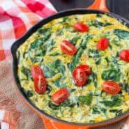 This egg white frittata is loaded with the great flavors of green chiles, scallions, cheese, and spinach. It's a healthy vegetarian start to your day and it's packed with protein!Get the easy recipe on RachelCooks.com!