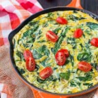 Egg White Frittata with Green Chiles and Spinach - Healthy & Vegetarian
