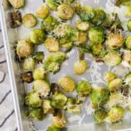 This Roasted Brussels Sprouts recipe isn't like every other - the addition of a bit of nutty Asiago cheese sets it apart from the rest! Get the easy roasted vegetable recipe on RachelCooks.com!