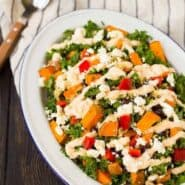 Filling and flavorful, this kale sweet potato salad is filled with southwestern flavors and nutritious ingredients! It's great for meal prepping and healthy eating all week long. Get the recipe on RachelCooks.com!