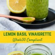 Bright and fragrant, this lemon basil vinaigrette dressing is the perfect healthy salad dressing. It's Whole30 compliant and is a great addition to a green tossed salad or a pasta salad. It's also great drizzled on top of grilled chicken!Get the easy salad dressing recipe on RachelCooks.com!