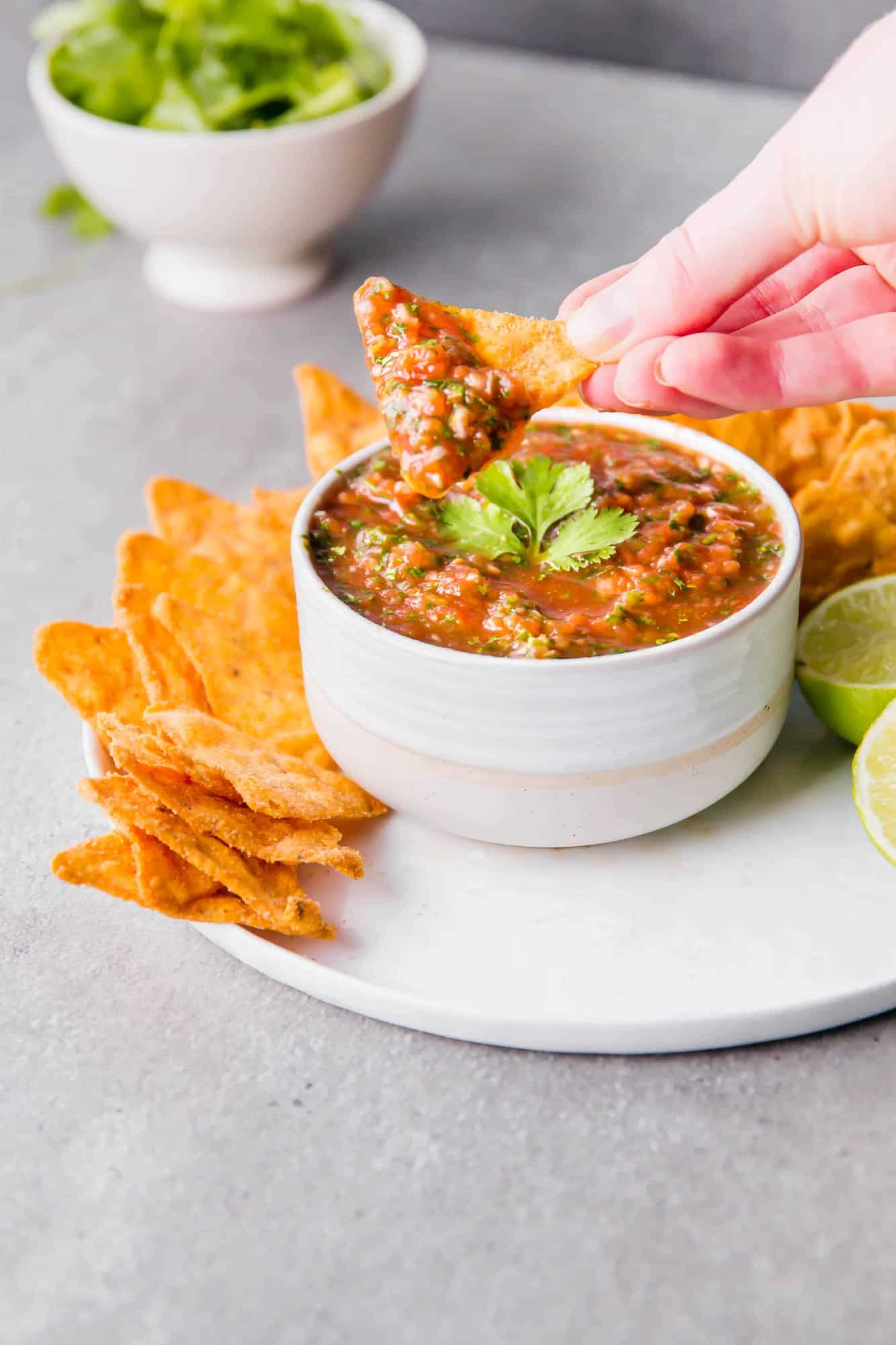 Salsa on chip in a hand over a white bowl.