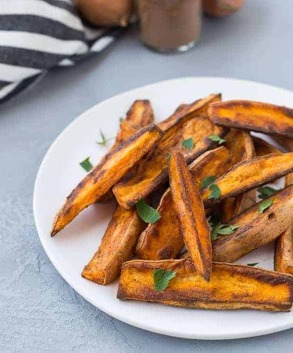 Closeup of sweet potato wedges.