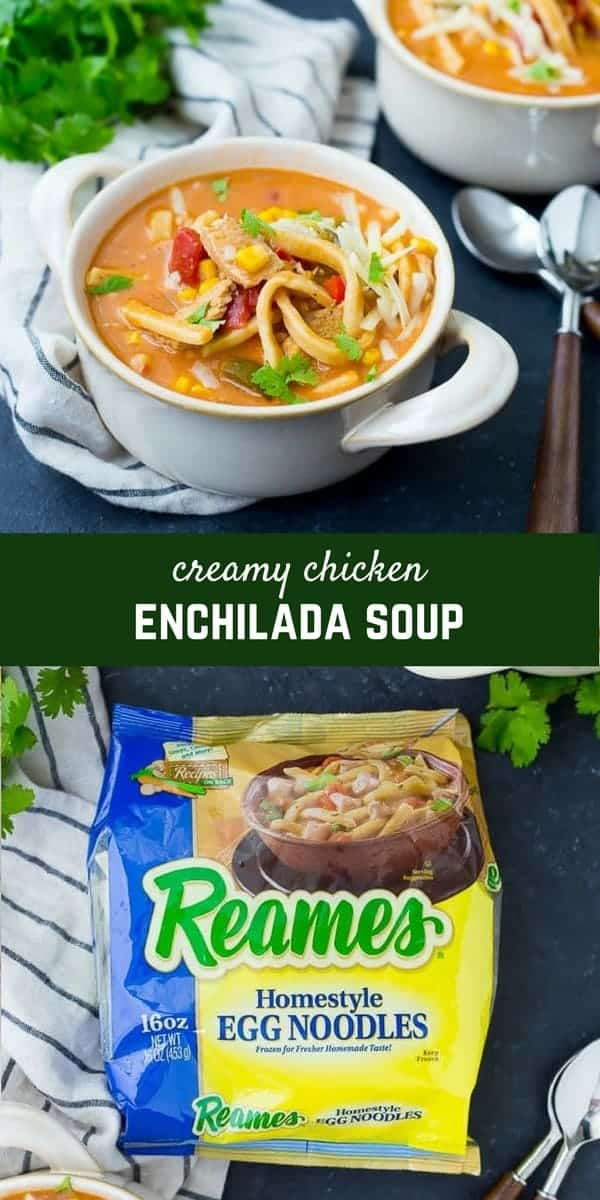 This Creamy Chicken Enchilada Soup with Noodles is cozy, comforting and easy to make. You'll love the twist on classic enchiladas with thick, hearty noodles swimming in a delicious broth. Get the recipe on RachelCooks.com! #Reames