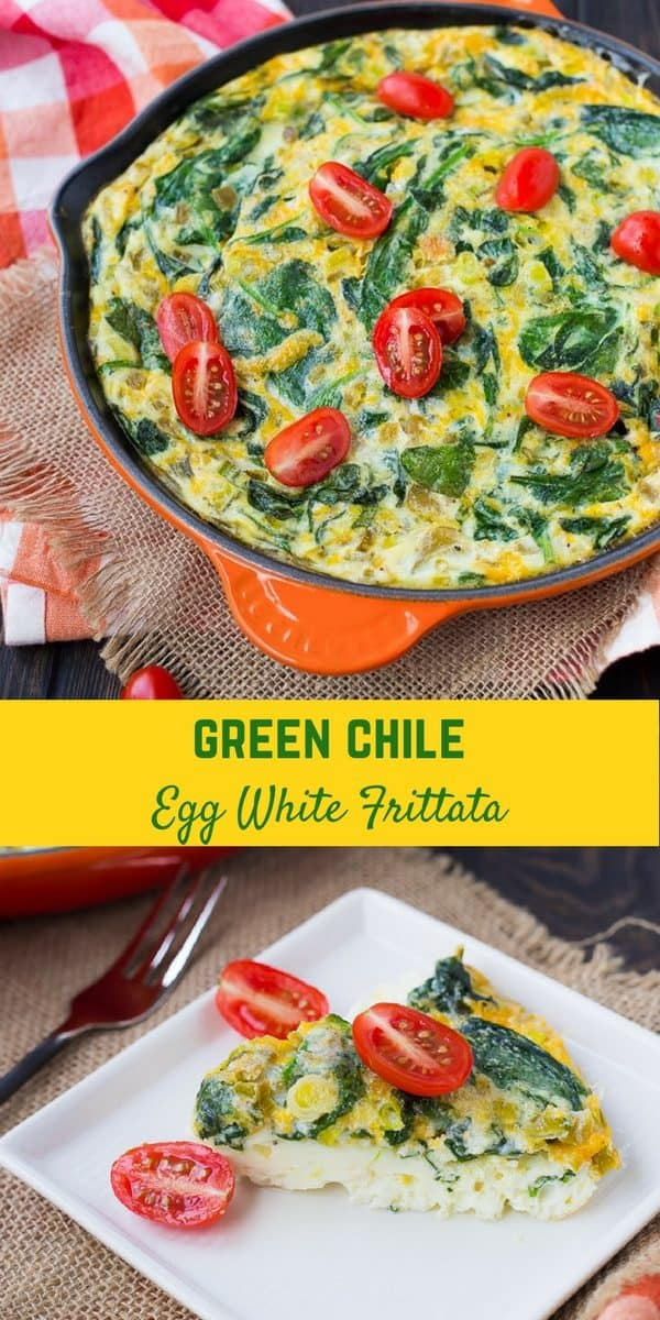This easy vegetarian egg white frittata is loaded with the great flavors of green chiles, scallions, cheese, and spinach.
