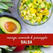 Mango Avocado Salsa is the perfect topping to any taco or salad, and it's irresistible piled up on a chip! You'll love the creamy avocado, sweet mango, and tart pineapple in every bite! Get the fun recipe on RachelCooks.com!