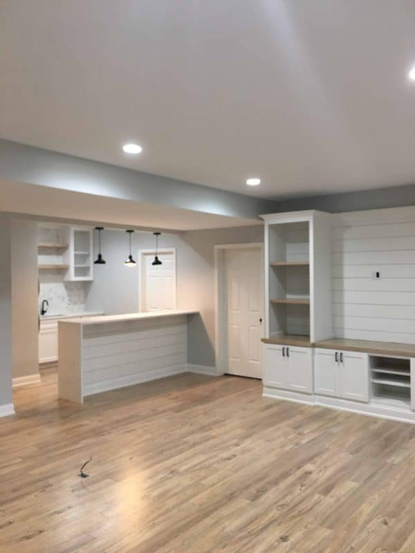Basement Remodel with Grey Owl Paint, Shiplap, Quartz
