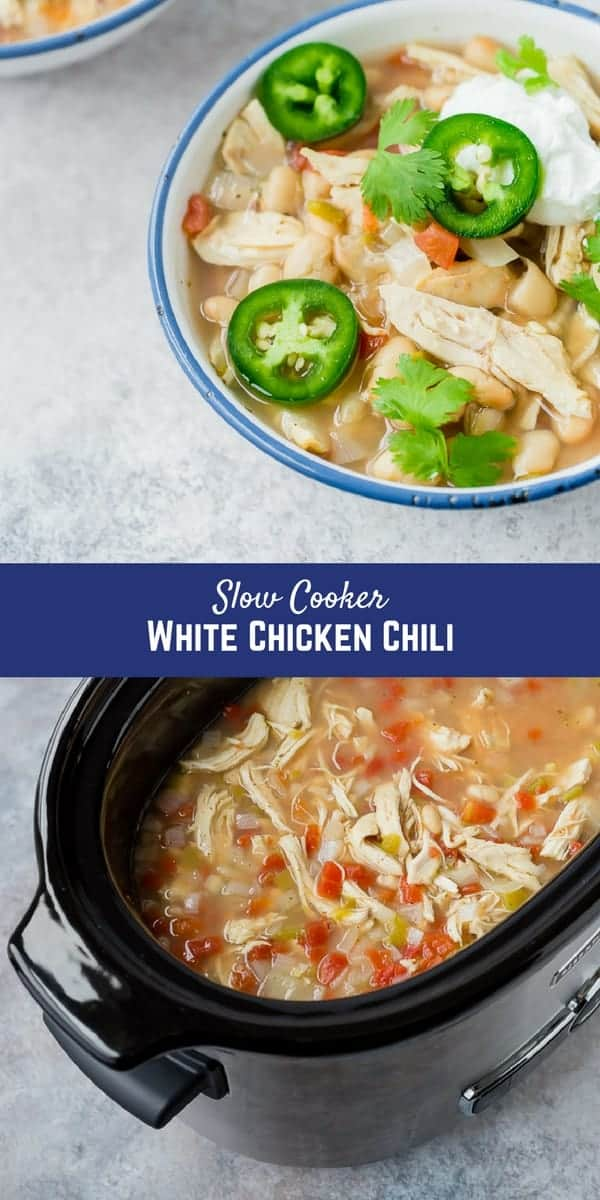 This slow cooker white chicken chili will become your go-to recipe for cool weather entertaining and busy weeknights. Included in the recipe are more than 5 ways to adapt this and make it perfect for YOU!