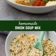Homemade onion soup mix is perfect for homemade french onion dip, meatloaf, burgers, soup, and more! The best part is, no weird ingredients or MSG! Get the easy recipe on RachelCooks.com!