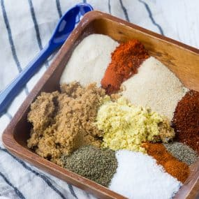 This BBQ rub is the perfect sweet and savory rub for pork and chicken. It's easy to make with ingredients you probably already have in your pantry. Don't grill without it!