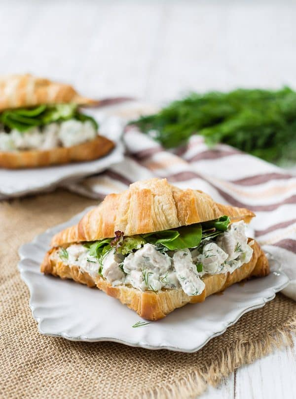 Dill chicken salad made with yogurt on a split open croissant with baby greens.
