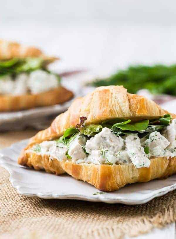 Straight-on view of chicken salad in a croissant with greens.