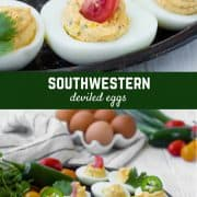 Full of flavor, these southwest deviled eggs are a fun twist on a favorite. Another bonus: You can add so much variety with the toppings!