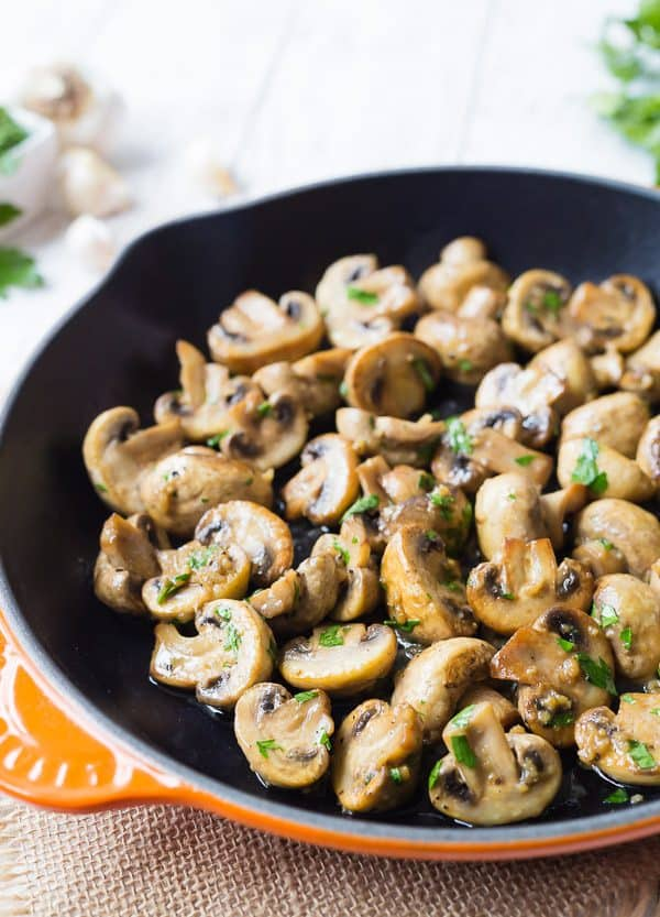 Sautéed Mushrooms swimming in a silky garlic butter sauce...these are mushroom perfection! They are great on steak, chicken, or as a side dish.