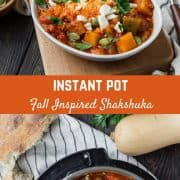 Fall inspired Instant Pot Shakshuka is easy, healthy and so delicious. Get some crusty bread to dip in the tomato sauce and eggs and you're ready to dig in!