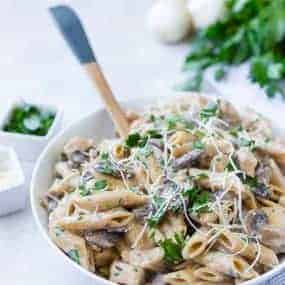 All the flavors of chicken marsala in a rich, creamy pasta - all made in one pan! This chicken marsala pasta is perfect for busy weeknights!