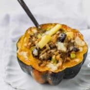 This Stuffed Acorn Squash is fall embodied in one recipe. It will become a quick favorite with its healthy mix of sweet and savory in one filling and satisfying recipe.