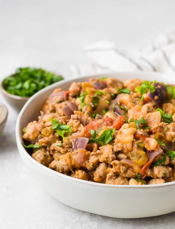 Cozy, healthy, and easy to make - this sausage and bean skillet is everything you want in a meal on a cool day.