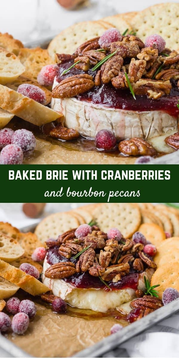 This baked Brie recipe with cranberry sauce and bourbon candied pecans will be your new favorite recipe for entertaining. Perfect for Thanksgiving or Christmas...it's easy to make and absolutely irresistible!