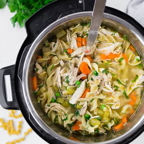 This cozy and comforting Instant Pot Chicken Noodle Soup is made easily and quickly in your pressure cooker. It's comfort food at its best!