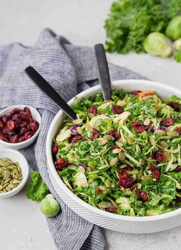 Sweet Kale Salad with Dried Cranberries and Poppy Seed Dressing