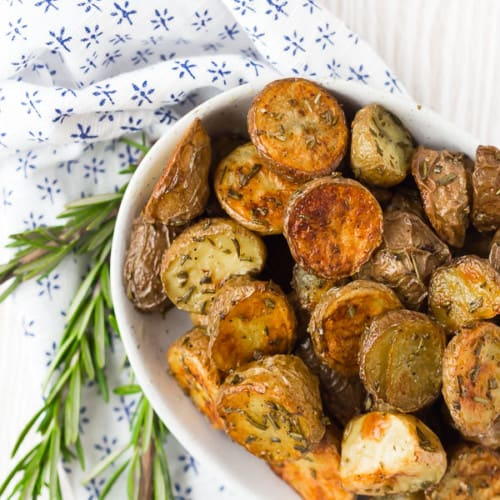 Fragrant, flavorful rosemary roasted potatoes are the perfect side dish for nearly any meal. They're great at breakfast too!