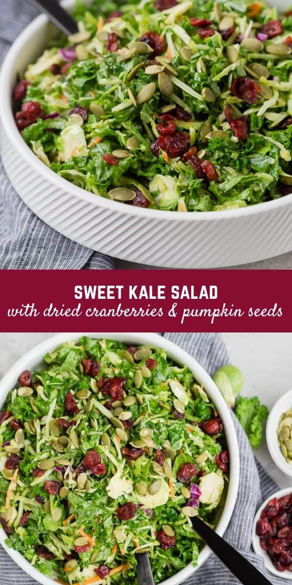 This sweet kale salad is a copycat of the popular bagged salad you find in grocery stores -- but as always, homemade is way better!
