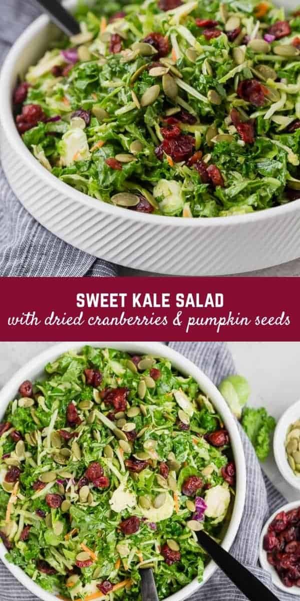 Sweet Kale Salad with Dried Cranberries and Poppy Seed