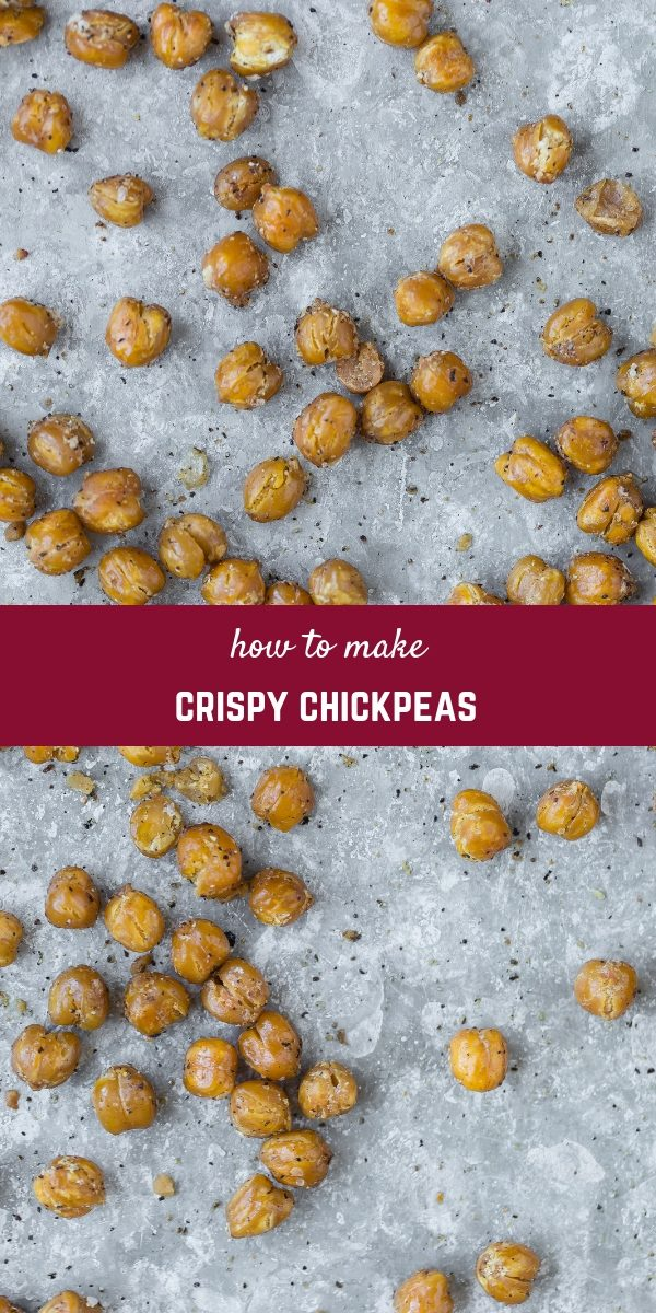 Crispy Chickpeas are the perfect salty snack that's packed with protein! They're also great on salads and sprinkled on top of soup.