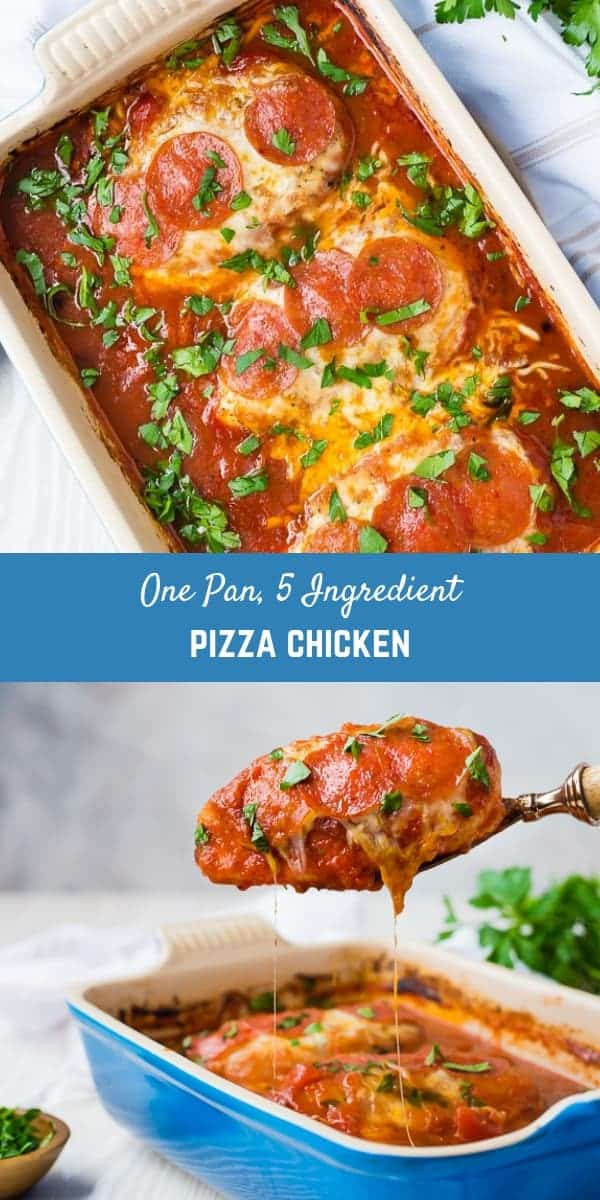 This easy five ingredient, one-pan pizza chicken is a weeknight lifesaver. It's an easy crowd-pleaser of a dinner!