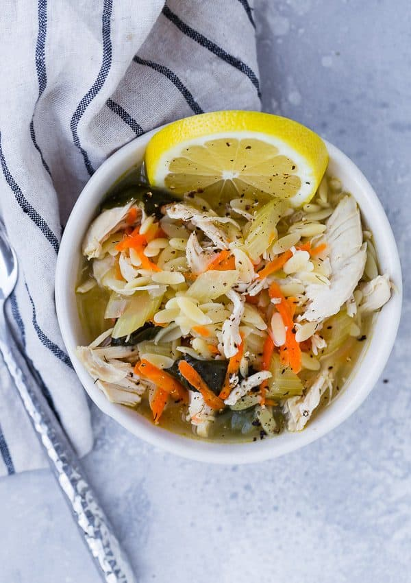This Instant Pot Lemon Chicken Orzo Soup is cozy and comforting, but the bright, fresh flavor of the lemon makes it taste just a little like spring.