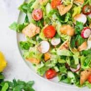 This fattoush salad will quickly become your favorite salad. Crispy pita, tangy dressing, and lots of fresh herbs will make this an instant favorite.