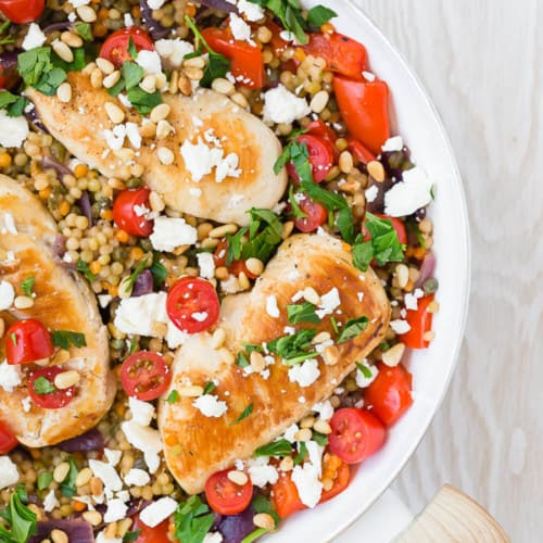 This One Pan Mediterranean Chicken and Israeli Couscous is a complete meal made in one pan. The flavors are bright and flavorful, and it's going to become one of your go-to recipes!