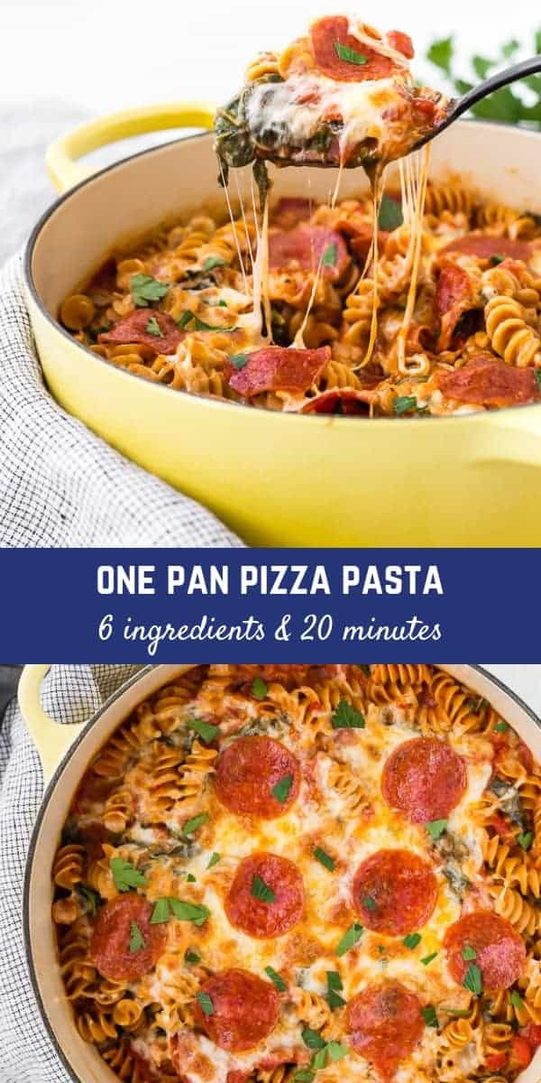 This pizza pasta is made in ONE pan, with SIX ingredients, in TWENTY minutes. I mean, really, does it get any better than that? And it's nutritious and filling!