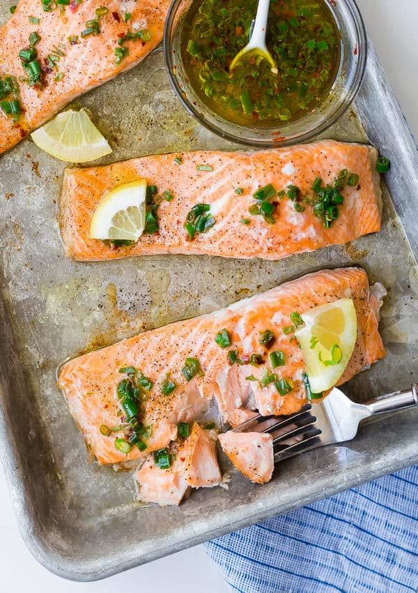 This flavorful and easy baked salmon with lemon and chives is a taste of summer! It is the perfect use for those chives in your garden!